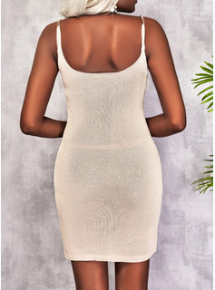 Solid Sheath Sleeveless Mini Casual Type Dresses