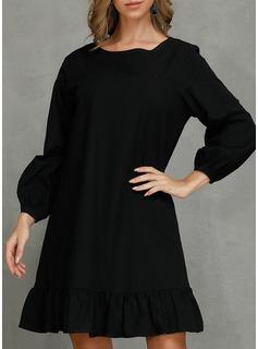Solid Skiftekjoler 3/4 ærmer Mini Den lille sorte Casual Tunika Mode kjoler