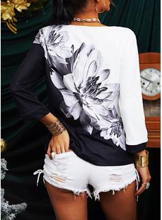 Blocchi di colore Floreale Stampa Girocollo 3/4 maniche Casuale Camicie