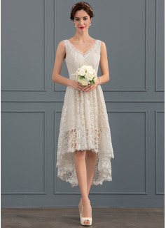 A-Line V-neck Asymmetrical Lace Wedding Dress