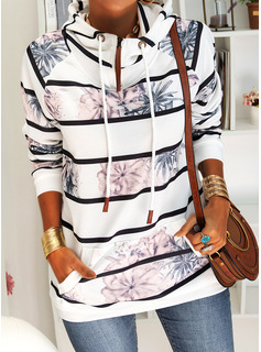 Floral Print Striped Long Sleeves Hoodie