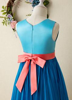 Çan Diz Hizası Çiçek Kız Elbise - Saten Kolsuz Yuvarlak Yaka