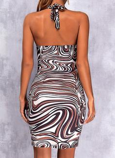 Print Bodycon Sleeveless Mini Sexy Dresses