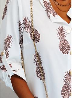Print V-hals Lange ærmer Button-up Shirt Skjorter