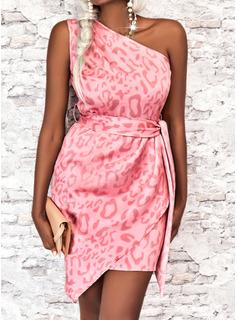 Leopard Plaid Print Sheath Sleeveless Midi Elegant Dresses
