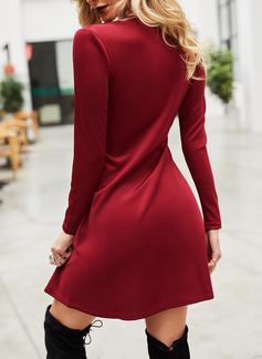 Solid Sheath Long Sleeves Mini Little Black Casual Dresses