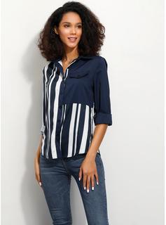 Prążek Długie rękawy Szyfon Lapel Koszula Bluzki Bluzki