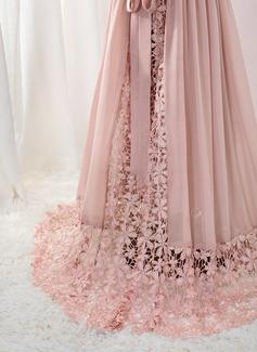 A-Line Floor-length Flower Girl Dress - Chiffon/Lace Sleeveless V-neck With Beading