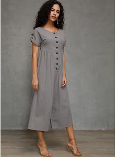 Escote en V Lino Botones/Sólido Manga corta Sólido Vestidos de moda