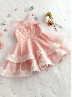 A-Line Knee-length Flower Girl Dress - Tulle/Lace Sleeveless Scoop Neck With Beading