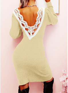 Lace Solid Long Sleeves Casual Dresses