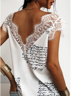 Lace Patchwork Print V-Neck Sleeveless Casual Tank Tops