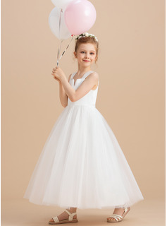 Ball Gown Ankle-length Flower Girl Dress - Satin/Tulle Sleeveless Square Neckline