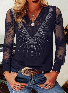 Lace Sequins Solid V-Neck Long Sleeves Elegant Blouses