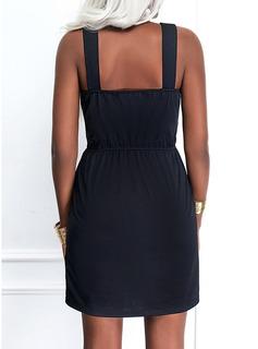 Sólido Cubierta Sin mangas Midi Pequeños Negros Casual Vestidos de moda
