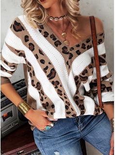 V-hals Casual Leopard Color Block Trøjer