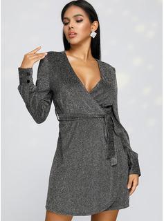 Over Knee V-hals Polyester pailletter/Button Lange ærmer Mode kjoler
