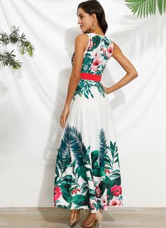 Maksimum V-hals Polyester Print Uden Ærmer Mode kjoler