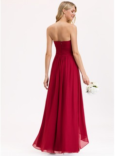 A-Line Sweetheart Floor-Length Chiffon Bridesmaid Dress With Split Front Cascading Ruffles