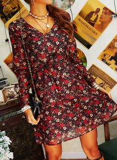 フローラル 印刷 Aラインワンピース 長袖 ミニ カジュアル エレガント スケーター ラップ ファッションドレス