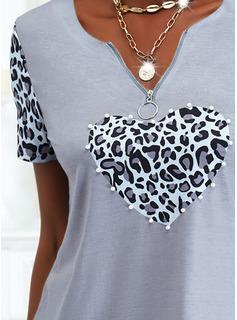 Con cuentas Leopardo Corazón Cuello en V Manga Corta Casual Blusas
