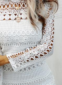 Pizzo Solido A trapezio Maniche lunghe Midi Casuale Vestiti di moda