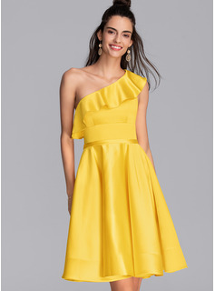 A-Line One-Shoulder Knee-Length Satin Homecoming Dress With Cascading Ruffles