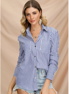 raya Manga larga poliéster Solapa Camisas Blusas Blusas