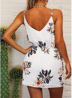 Blommig Print A-linjeklänning Ärmlös Mini Boho Fritids Semester Typ Modeklänningar
