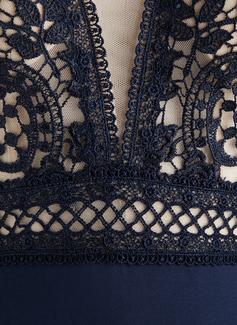 Trumpet/Mermaid V-neck Floor-Length Lace Jersey Evening Dress