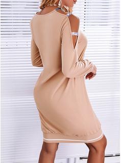 Impresión Corazón Vestidos sueltos Manga Larga Mini Casual Sudadera Vestidos de moda