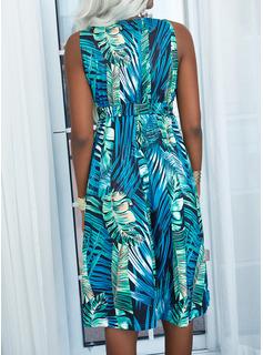 Print Kjole med A-linje Ærmeløs Midi Casual Ferie skater Mode kjoler