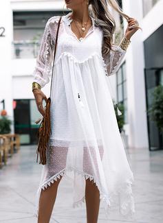 Blonder Solid Skiftekjoler 3/4 ærmer Maxi Boho Ferie Mode kjoler