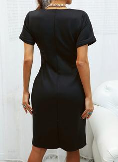 Solid Bodycon Korte ærmer Midi Den lille sorte Casual Blyant Mode kjoler