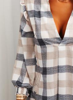 Carreaux Coupe droite Manches Longues Mini Décontractée Tunique Robes tendance