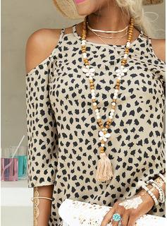 Over Knee rund hals Polyester Print 3/4 Ærmer/Kold-skulder ærmer Mode kjoler