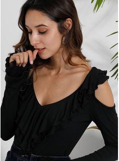 Einfarbig Lange Ärmel Polyester Schulterfrei T-shirt Blusen