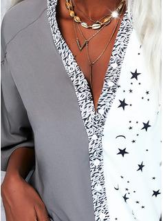 Trozos de color Impresión Cuello en V Mangas 3/4 Casual Camisas Blusas