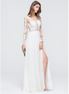 A-Line Sweetheart Floor-Length Chiffon Wedding Dress With Split Front