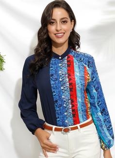 Farbblock 3/4 Ärmel Polyester V-Ausschnitt Hemd Blusen Blusen