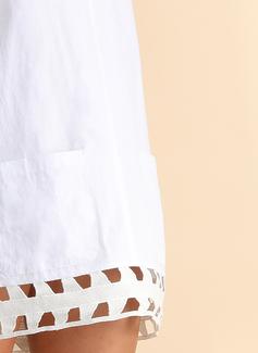 Poliester Z Przycisk/Wydrążony/Jednolity Nad kolanem Sukienka