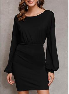 Solid Åtsittande Långa ärmar Mini Den lilla svarta Fritids Elegant Modeklänningar