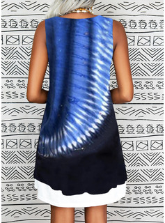 Tie Dye Shift Sleeveless Midi Casual Vacation Tank Dresses