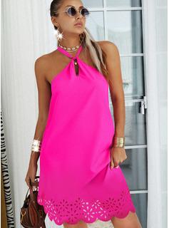 Sólido Vestidos sueltos Sin mangas Mini Casual Vestidos de moda