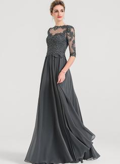 A-Line/Princess Scoop Neck Floor-Length Chiffon Evening Dress With Beading
