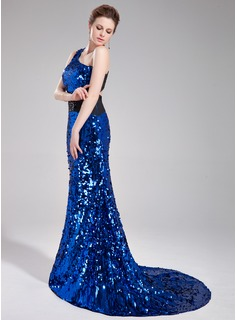 Trumpet/Mermaid One-Shoulder Court Train Sequined Prom Dress With Sash Beading