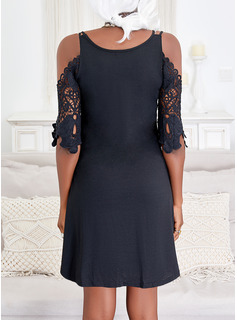 Solid Shift 1/2 Sleeves Mini Little Black Casual Vacation Tunic Dresses