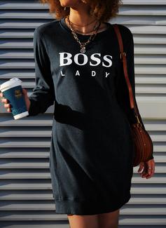 Imprimeu Shift Elbiseleri Mâneci Lungi Mini gündelik Kazak Moda Elbiseler