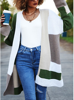 Casual Long Color Block Sweaters