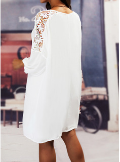 Sólido Vestidos sueltos Mangas 3/4 Midi Casual Túnica Vestidos de moda